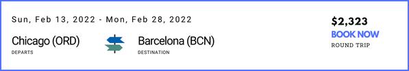 Chicago to Barcelona Feb 2022