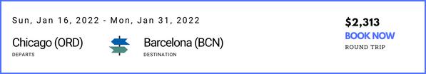 Chicago to Barcelona January
