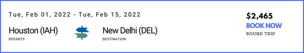 Houston to New Delhi